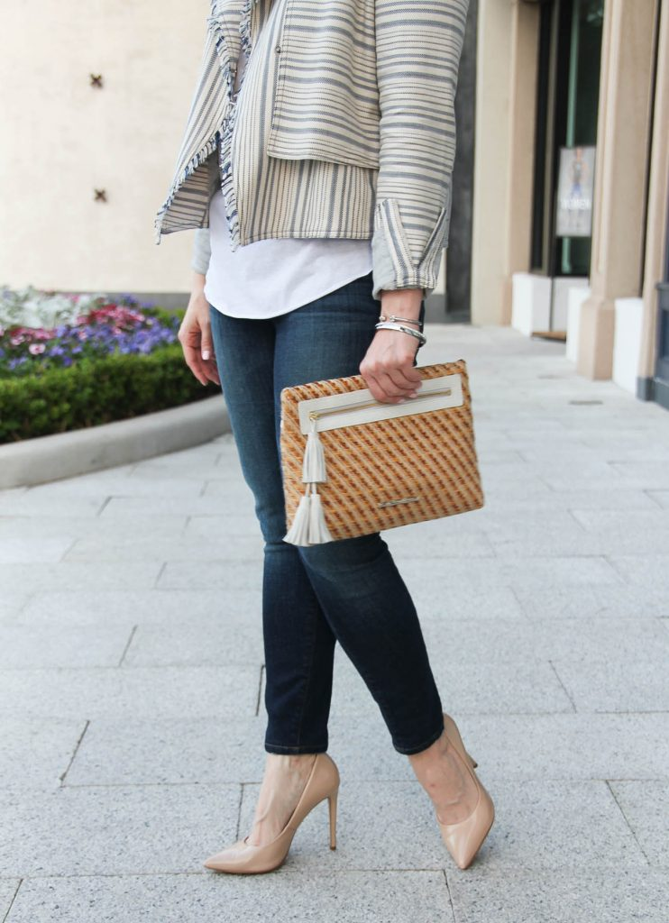 Karen Rock, a Houston based blogger, shares what to wear to brunch including skinny jeans and a striped jacket.