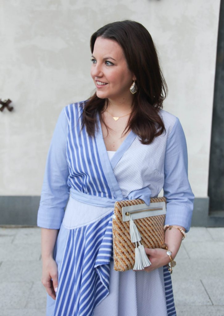 Lady in Violet wears an Anthropologie wrap dress for church or work.