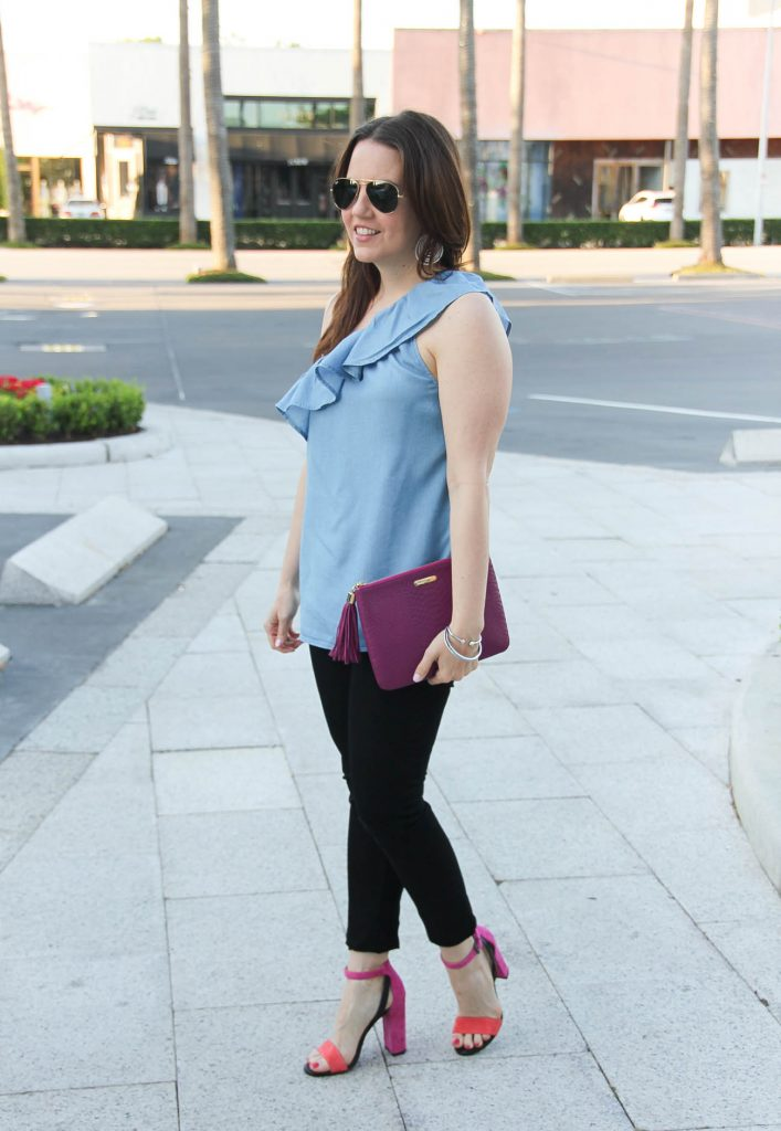 Fashion Blogger Lady in Violet wears spring outfit for date including chambray blouse and black skinny jeans paired with block heel sandals.