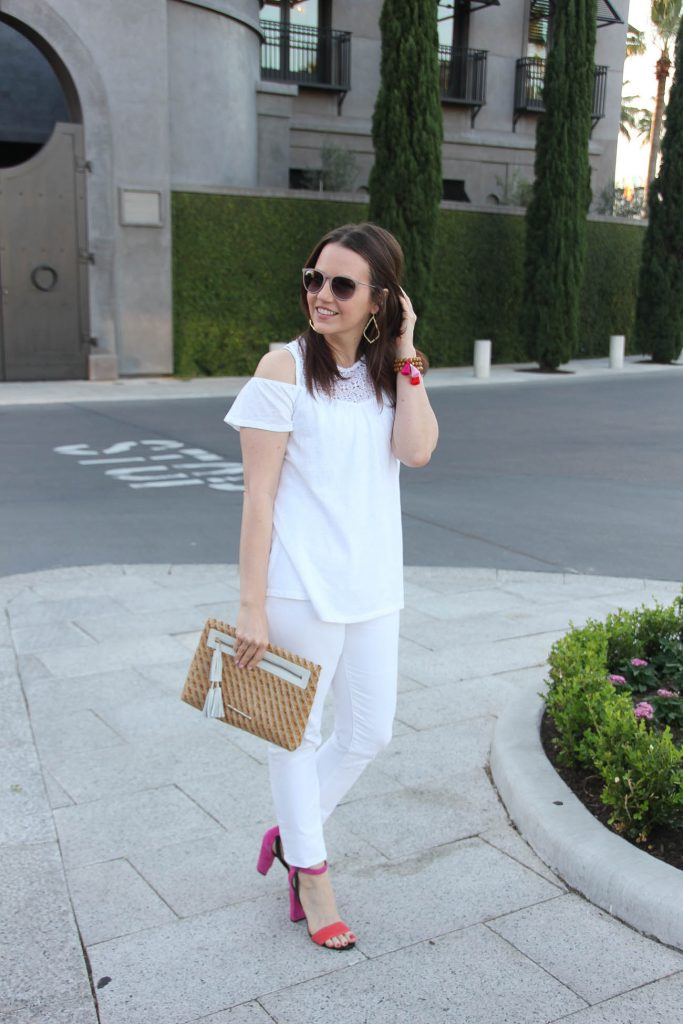 Houston fashion blogger wears all white outfit for spring with two color block heel sandals.