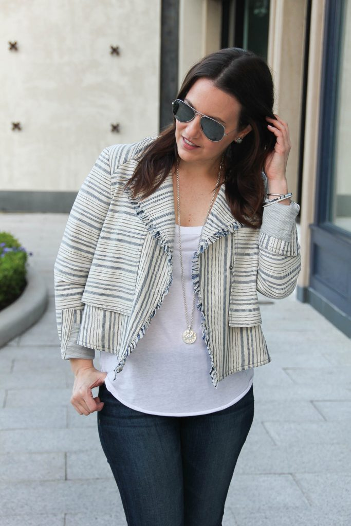 Houston fashion blogger Lady in Violet shares how to wear jackets in spring season.