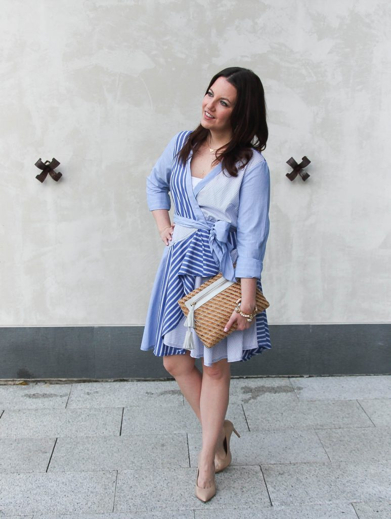 Karen Rock founder of Lady in Violet shares what to wear to a sorority luncheon featuring a wrap dress.