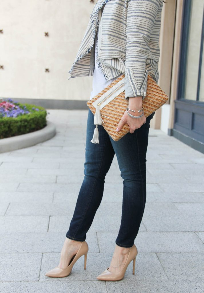 Houston fashion blogger styles a casual chic outfit idea for spring with jeans and a jacket.
