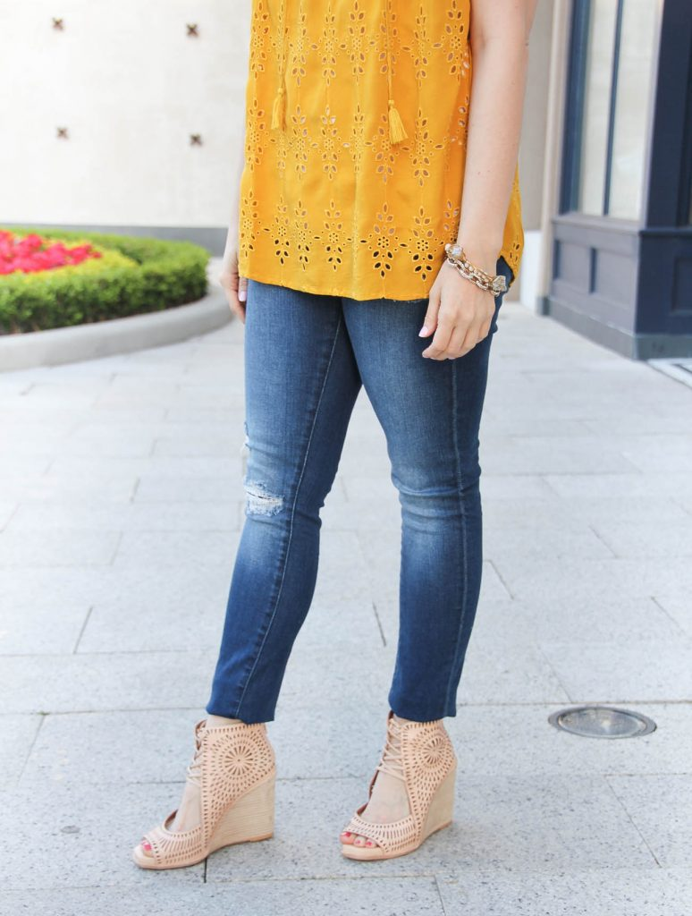 Houston blogger Karen Rock wears Jeffrey Campbell Rayos wedges with distressed jeans and gold bracelets.
