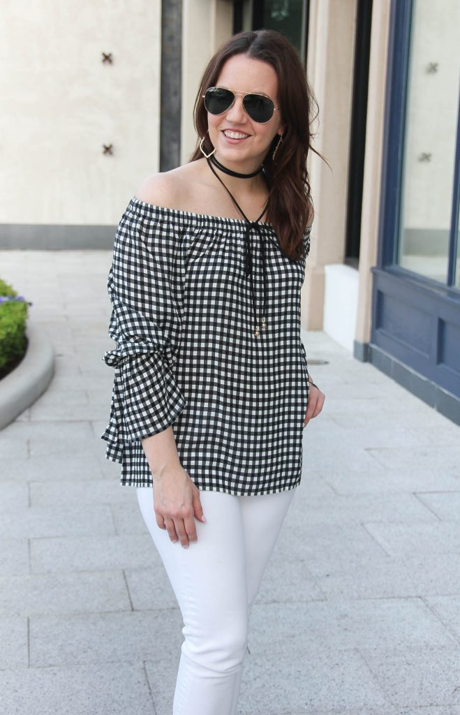 Houston fashion blogger, Lady in Violet, wears gingham off the shoulder top with a choker necklace.