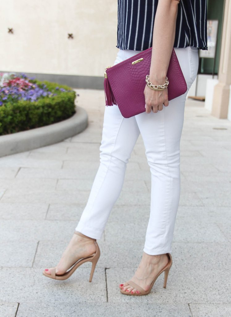 White jeans that are not see through paired with the Stecy sandals and Gigi New York clutch.