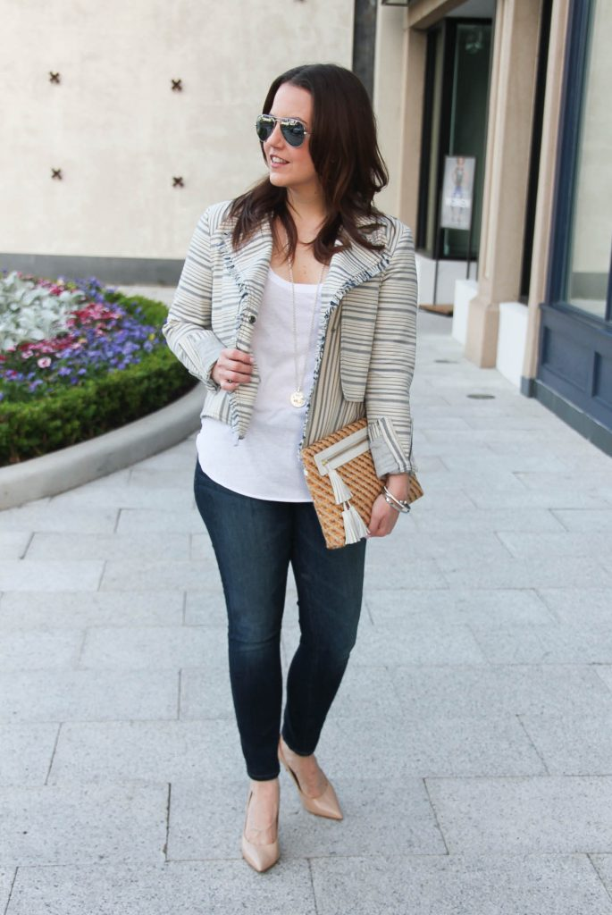 Houston fashion blogger wears Luxington Boutique jacket for spring outfit inspiration.