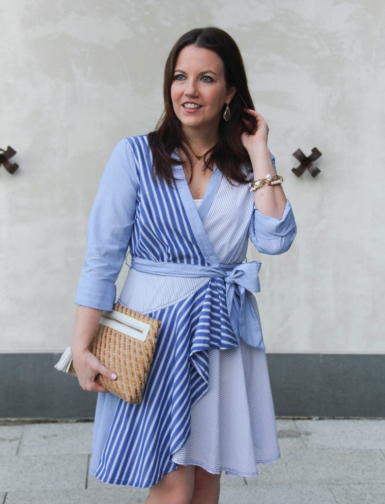 Houston based blogger Lady in Violet wears a blue striped shirt dress for Easter sunday.