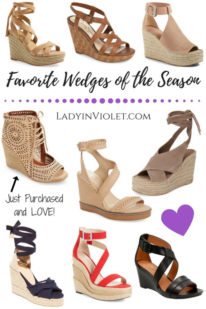 Fashion blogger and shoe lover shares her must have wedge sandals for Spring and summer.