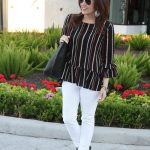 Bell Sleeve Peplum Top + White Jeans