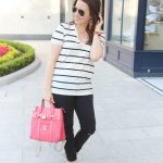 Casual Striped Tee + Feather Earrings