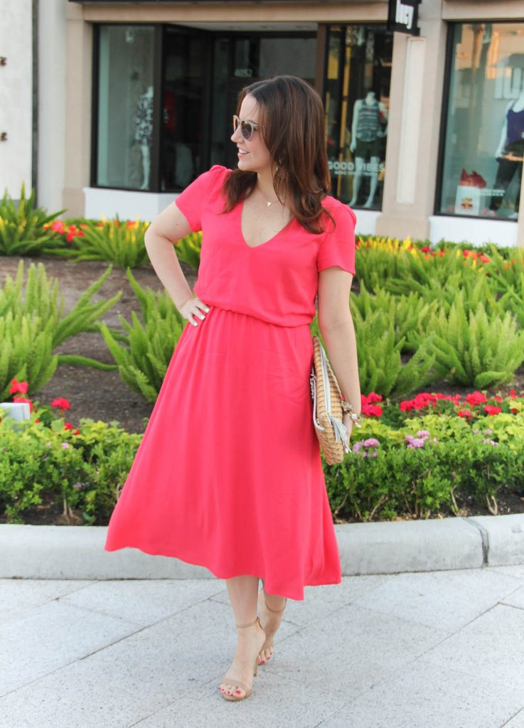 Spring Outfit | Coral Midi Dress | Nude Sandals | Lady in Violet | Houston Style Blogger