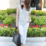 Gray Striped Top + White Jeans & LINK UP