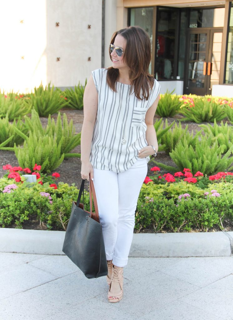 Spring Outfit | Casual Outfit | Striped Sleevleess Top | White Jeans | Black Tote Bag | Lady in Violet | Houston Style Blogger