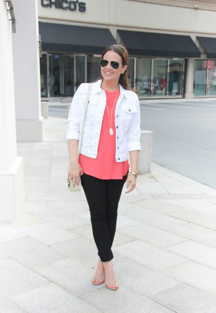 Spring Outfit | White Denim Jacket | Coral Top | Black Skinny Jeans | Lady in Violet | Houston Style Blogger