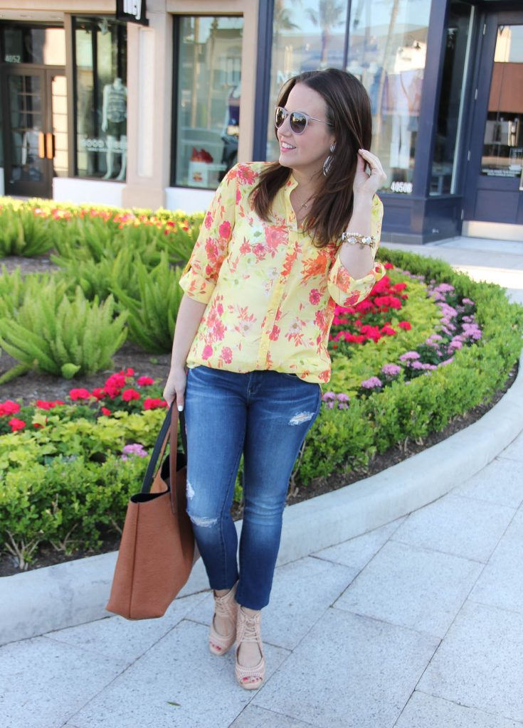 Spring Outfit | Yellow Floral Blouse | Distressed Jeans | Brown Tote Bag | Lady in Violet | Houston Style Blogger
