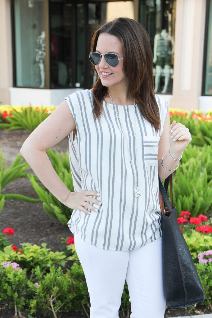 Casual Outfit | Summer Outfit | Gray Striped Sleeveless Top | White Jeans | Long Silver Necklace | Lady in Violet | Houston Fashion Blogger