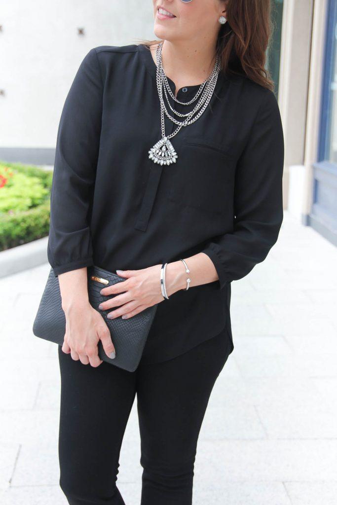 Chic Black Outfit | Baublebar Statement Necklace | Silver Bracelet | Black Blouse | lady in Violet | Houston Fashion Blogger