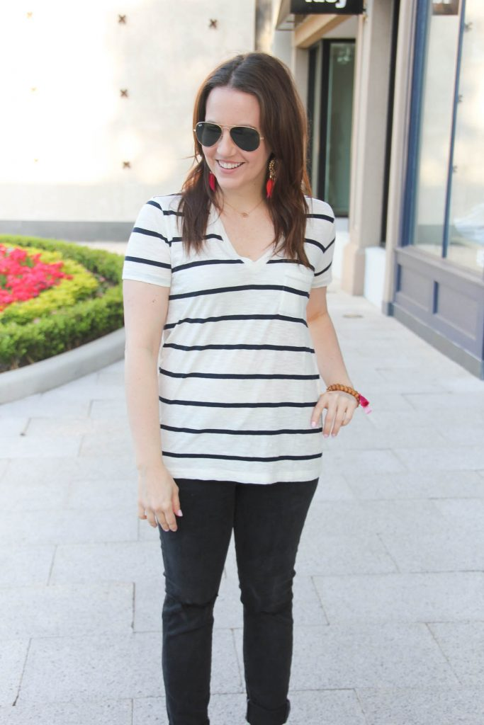 Perfect casual striped tee paired with black jeans by Lady in Violet.