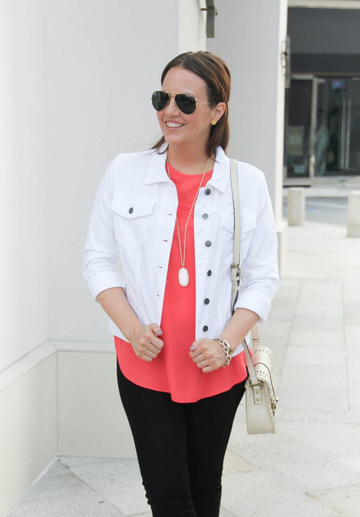 Summer Outfit | White Denim Jacket | Coral Blouse | Black Jeans | Lady in Violet | Houston Fashion Blogger