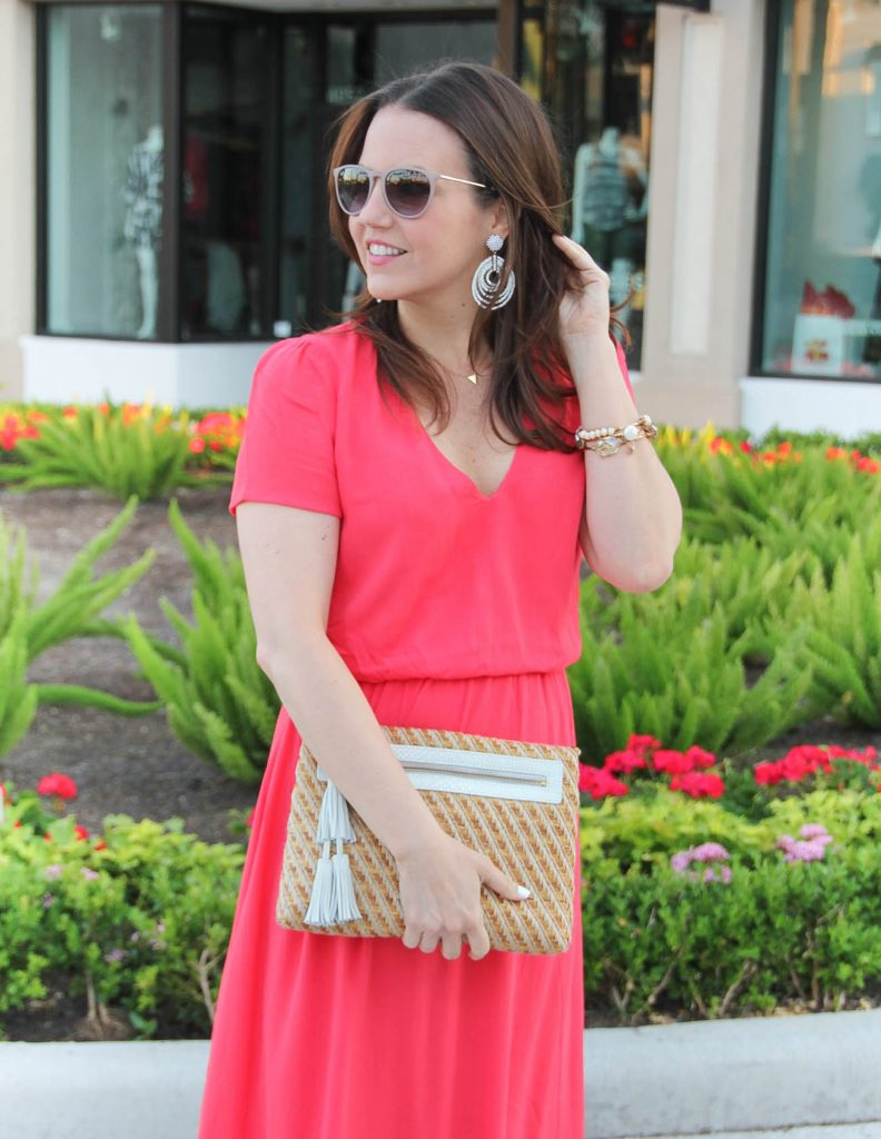 Wedding Guest Outfit | Midi Dress | Straw Clutch | White Statement Earrings | Lady in Violet | Houston Style Blogger