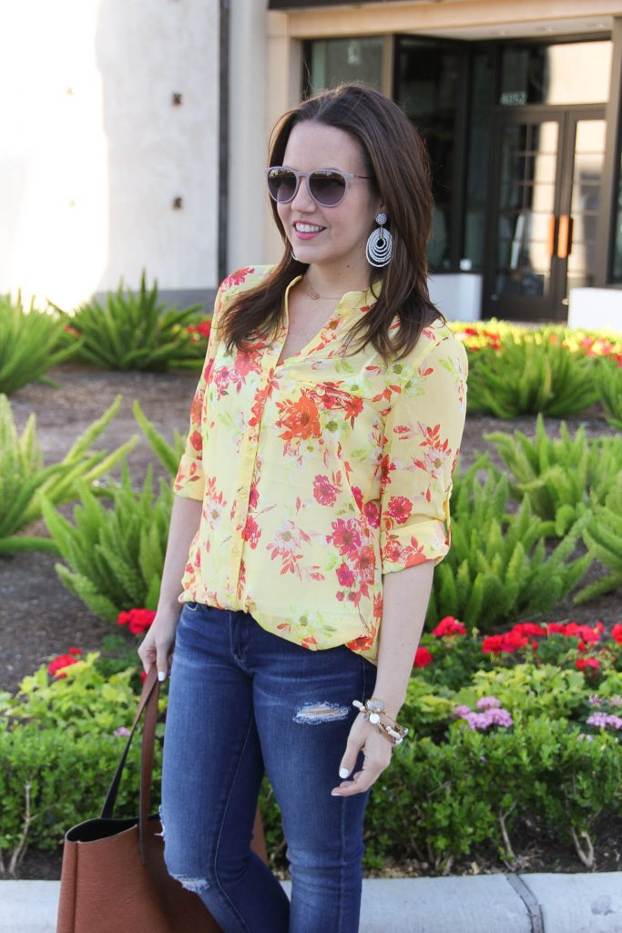 Weekend Outfit | Yellow Floral Blouse | White Statement Earrings | Lady in Violet | Houston Fashion Blogger