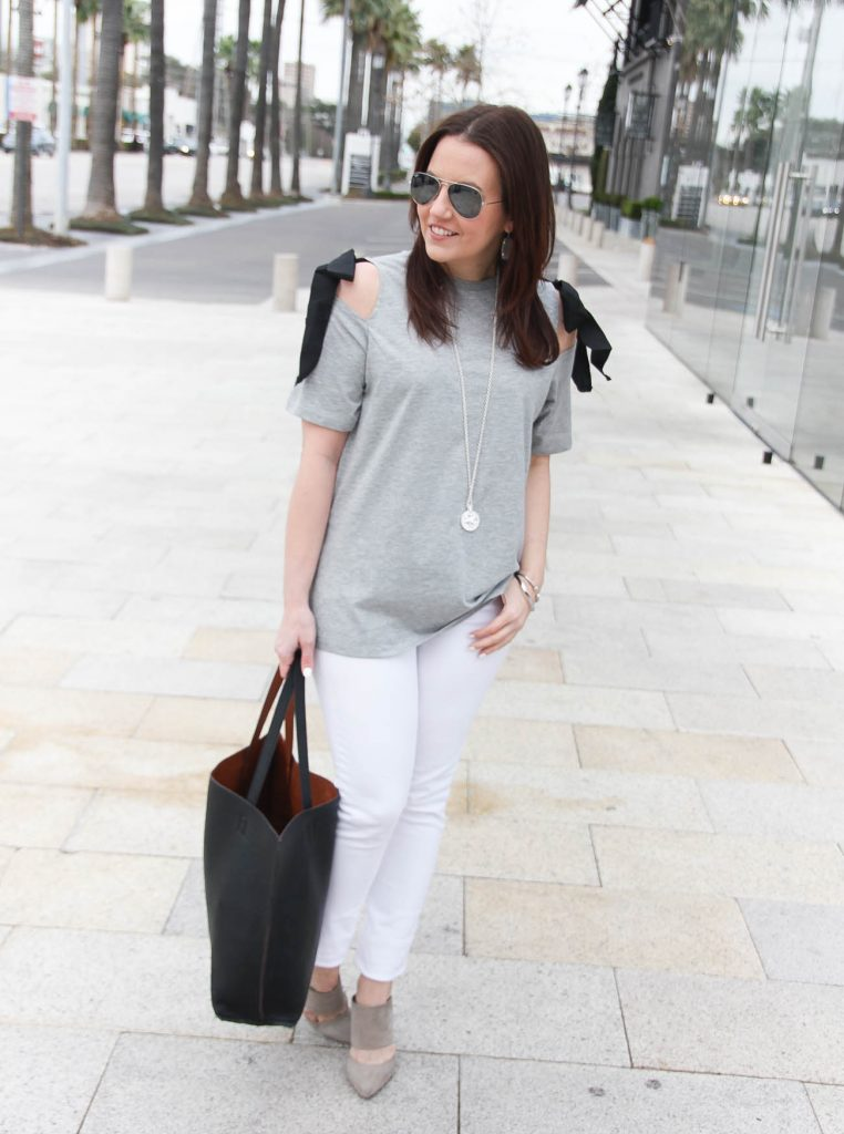 Spring Outfit | Cold Shoulder Tee | White Jeans | Lady in Violet | Houston Fashion Blogger