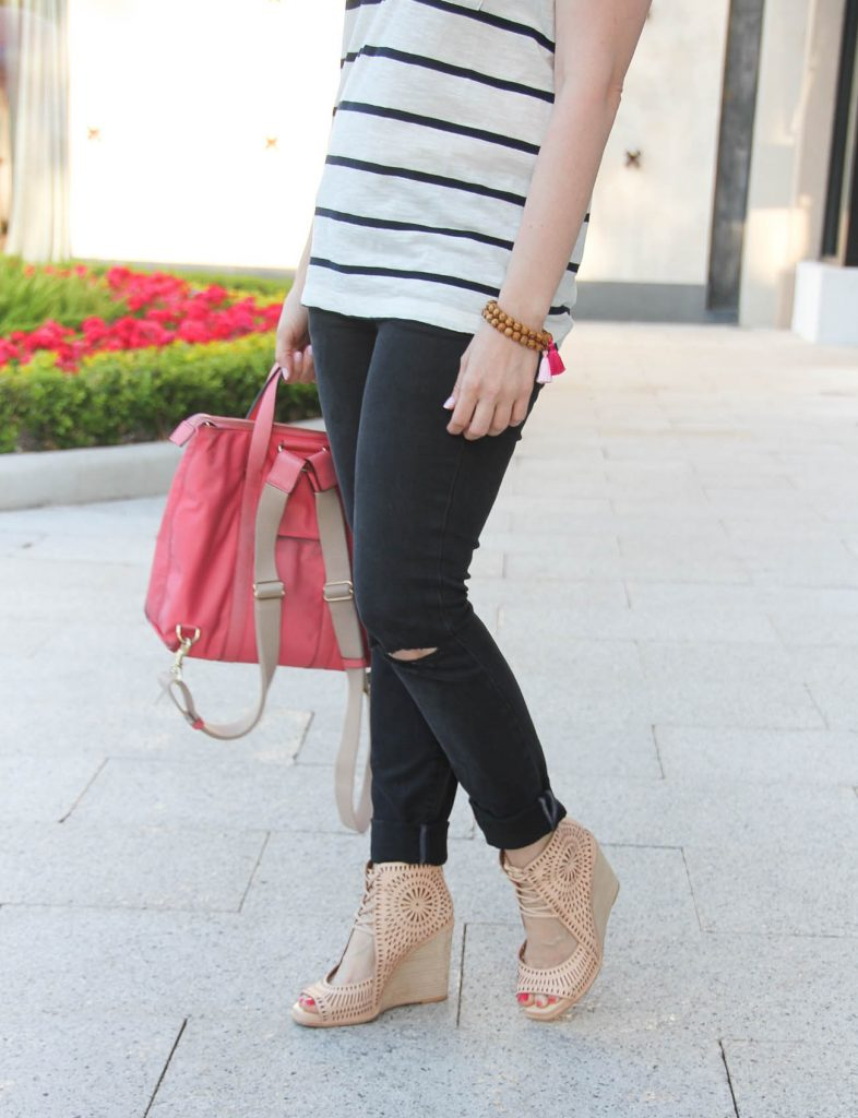 Black distressed jeans and affordable striped tee paired with nude wedge sandals, outfit by Houston Blogger Lady in Violet.