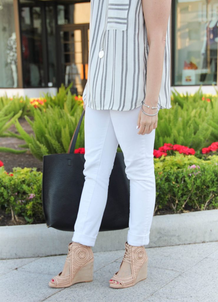 Casual Summer Outfit | White Skinny Jeans | Jeffrey Campbell Wedges | Silver Bangles | Lady in Violet | Houston Style Blogger