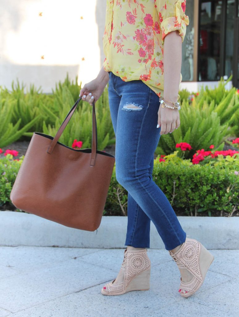 Casual Outfit | Brown Tote Bag | Distressed Jeans | Jeffrey Campbell Wedges | Lady in Violet | Houston Style Blogger