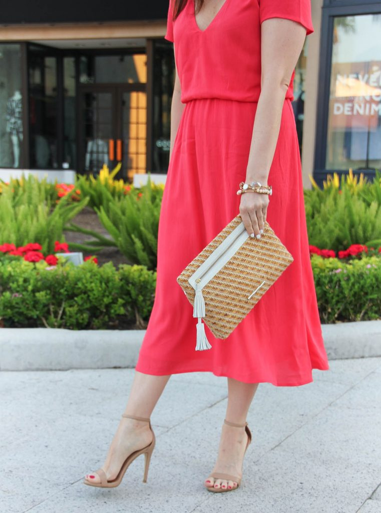 Wedding Shower Outfit | Coral Midi Dress | Straw Clutch | Stecy Sandals | Spring Outfit | Lady in Violet | Houston Fashion Blogger
