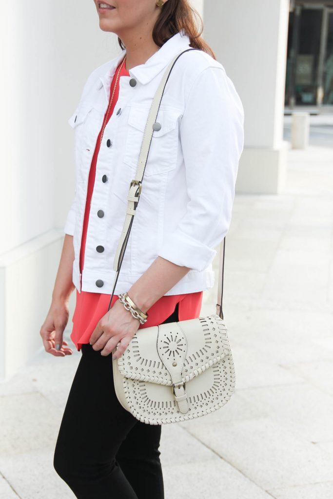 White Denim Jacket under $75 | Sole Society Kianna Bag | Lady in Violet | Houston Fashion Blogger