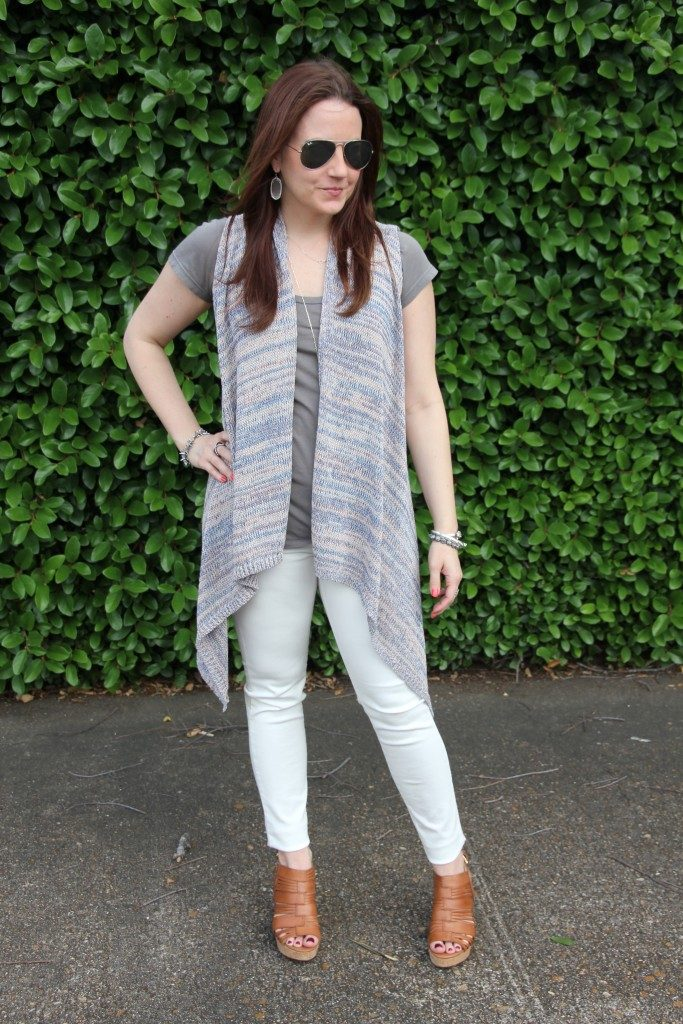 Spring Outfit | Gray Tee | White Jeans | Long Sweater Vest | Lady in Violet | Houston Style Blogger