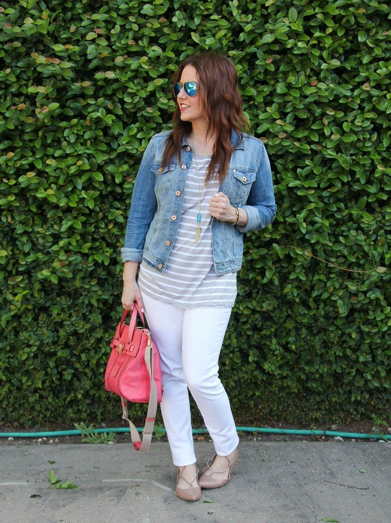 Spring Outfit | Gray Striped Tee | Denim Jacket | White Skinny Jeans | Lady in Violet | Houston Fashion Blogger