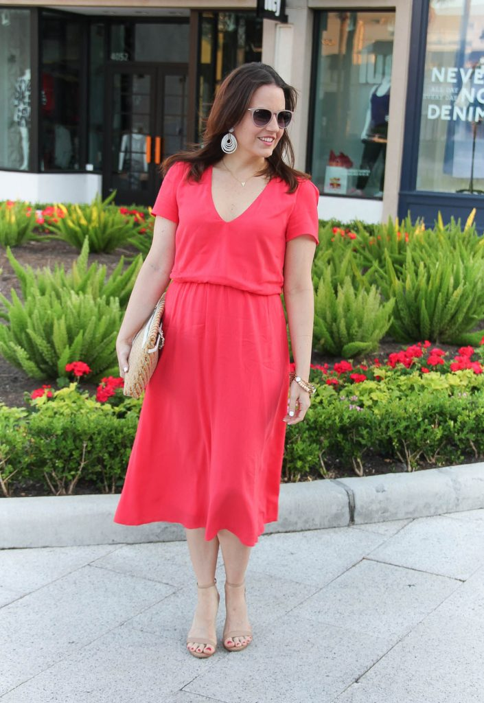 Baby Shower Outfit | Spring Outfit | Coral Midi Dress | Nude Heels | White Earrings | Lady in Violet | Houston Style Blogger