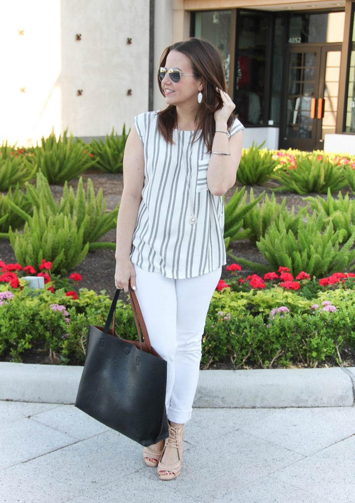 Casual Spring Outfit | Striped Sleeveless Blouse | White Jeans | Nude Wedges | Lady in Violet | Houston Style Blogger