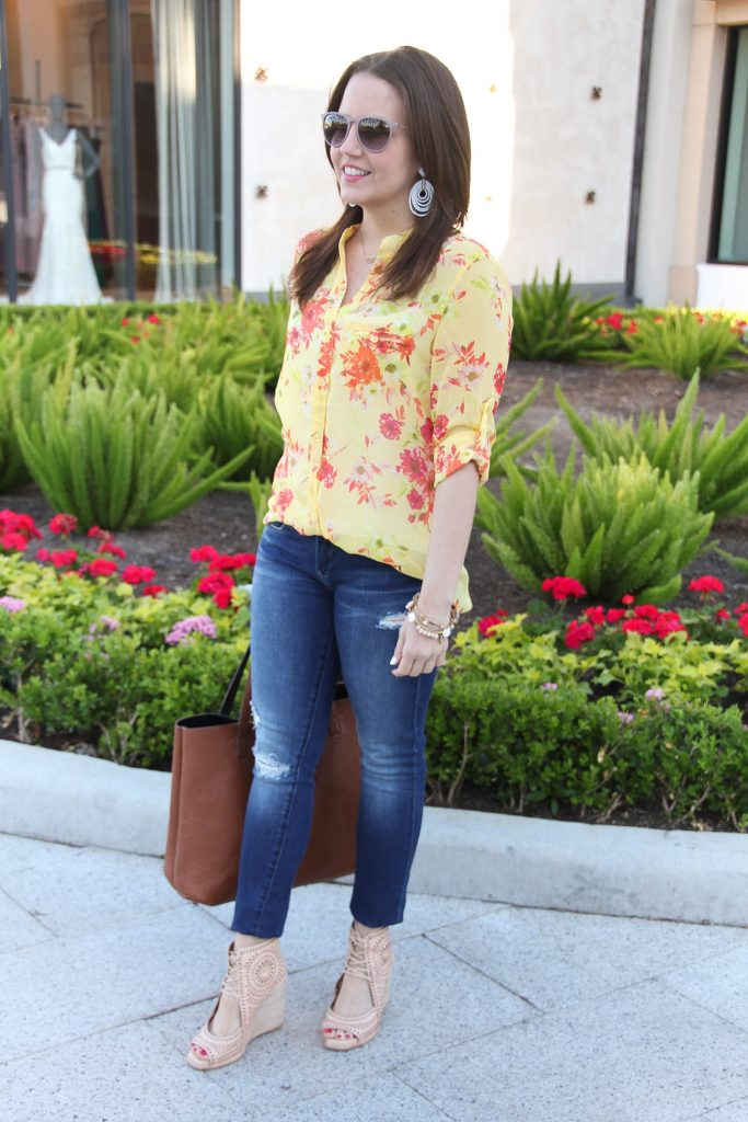Spring Outfit | Distressed jeans | Yellow Floral Top | Wedge Sandals | Summer Outfit | Lady in Violet | Houston Fashion Blogger