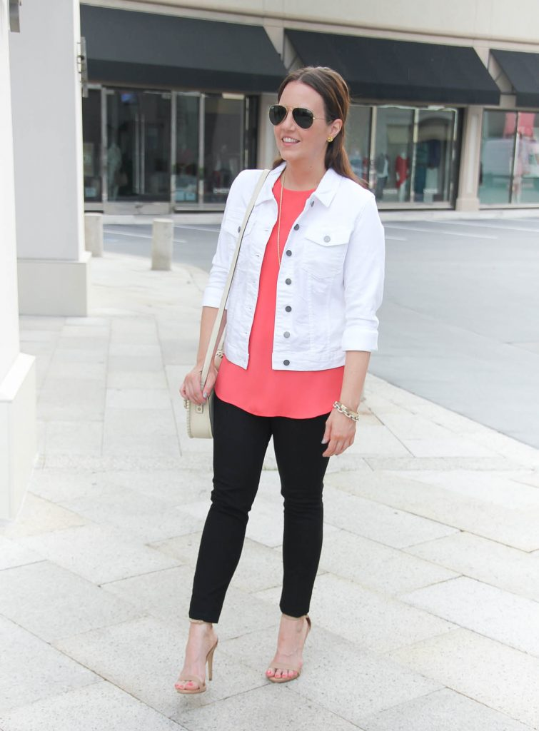 Spring Outfit | White Jacket | Pink Blouse | Black Jeans | Lady in Violet | Houston Style Blogger
