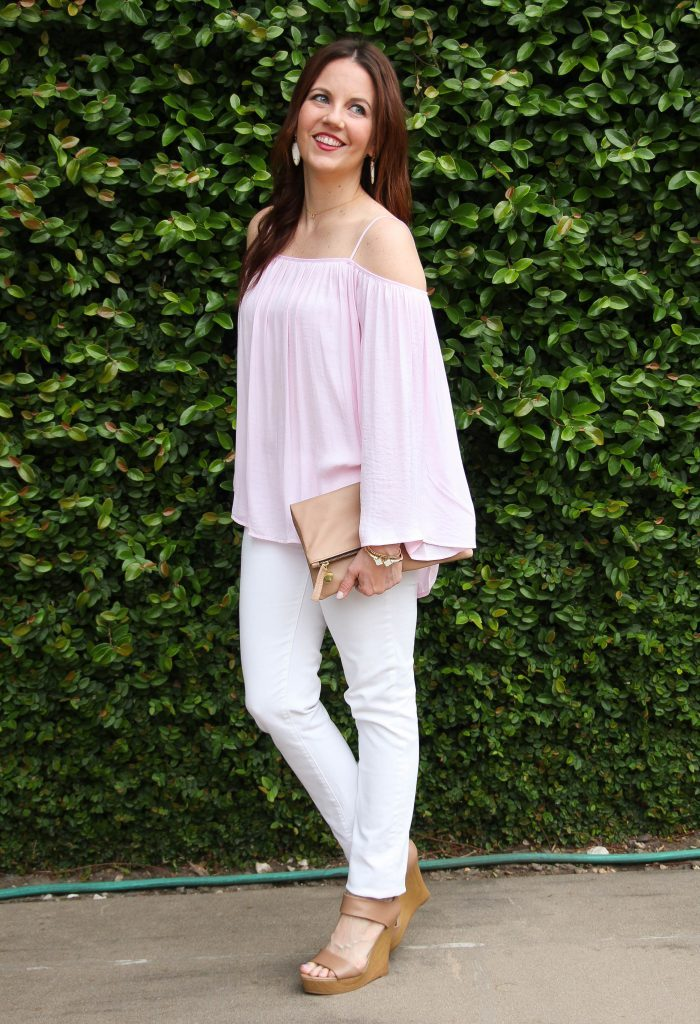 Blush Off the Shoulder Top | White Jeans | Nude Clutch | Spring Outfit | Lady in Violet | Houston Style Blogger