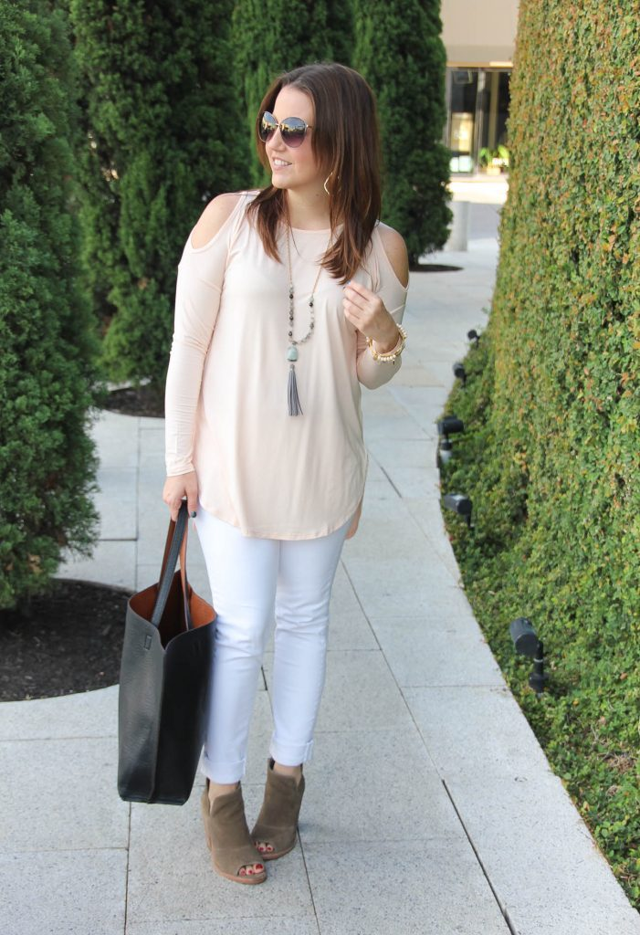 Spring Outfit | Blush Cold Shoulder Top | White Jeans | Brown Peep Toe Booties | Lady in Violet | Houston Fashion Blogger