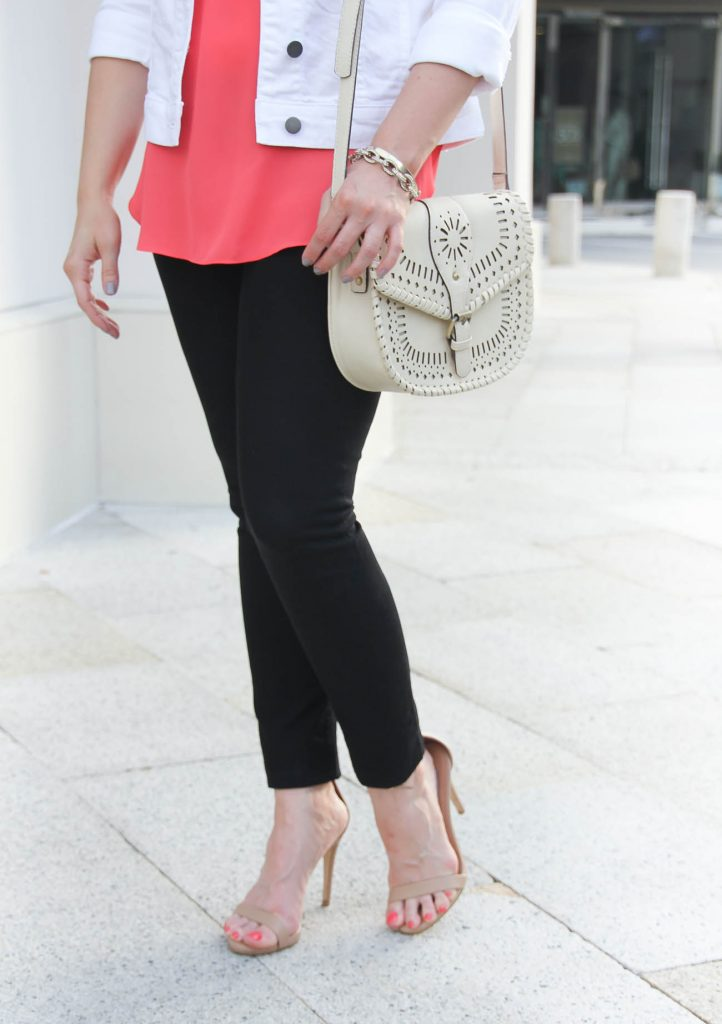 Casual Weekend Outfit | Black Skinny Jeans | Steve Madden Stecy Sandals | Lady in Violet | Houston Style Blogger