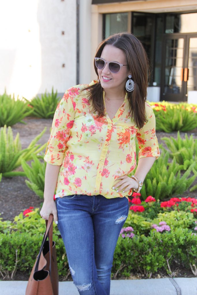 Spring Outfit | Yellow Floral Blouse | White Statement Earrings | Pink Raybans | Lady in Violet | Houston Blogger