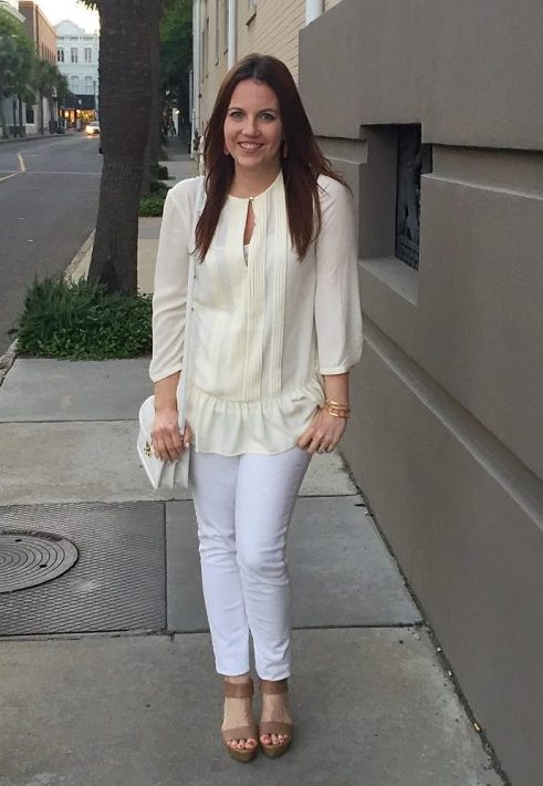 Spring Outfit | Ivory Blouse | White Jeans | Nude Wedges | Lady in Violet | Houston Style Blogger