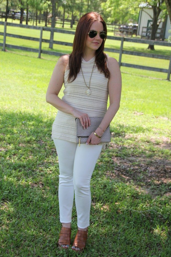 Summer Outfit | Sleeveless Sweater | White Jeans | Cognac Brown Wedges | Lady in Violet | Houston Fashion Blogger