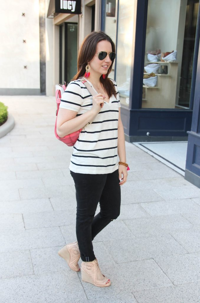 casual outfit idea including striped tee with black skinny jeans and summer wedges from Lady in Violet fashion blog.