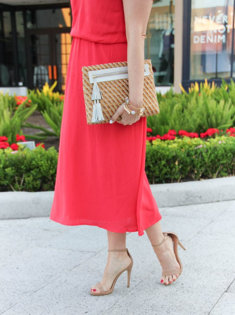 Spring Outfit | Coral Midi Dress | Straw Tassel Clutch | Nude Sandal Heels | Lady in Violet | Houston Fashion Blogger