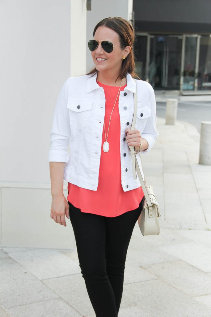 Kut from the Kloth Denim Jacket | Coral Sleeveless Blouse | Casual Outfit | Lady in Violet | Houston Fashion Blogger