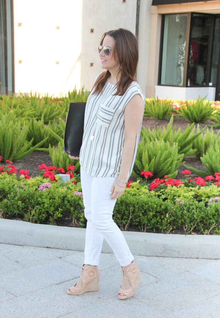 Spring Outfit | White Skinny Jeans | Nude Caged Wedges | Striped Sleeveless Top | Lady in Violet | Houston Fashion Blogger