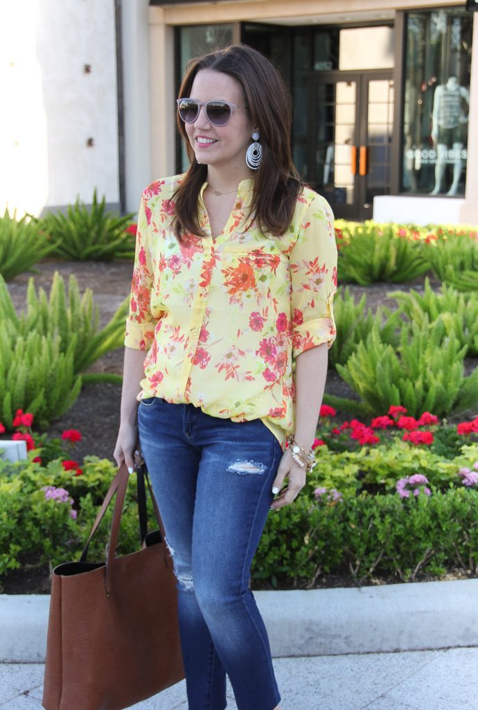 Spring Outfit | Yellow Floral Top | Distressed Jeans | White Earrings | Lady in Violet | Houston Style Blogger