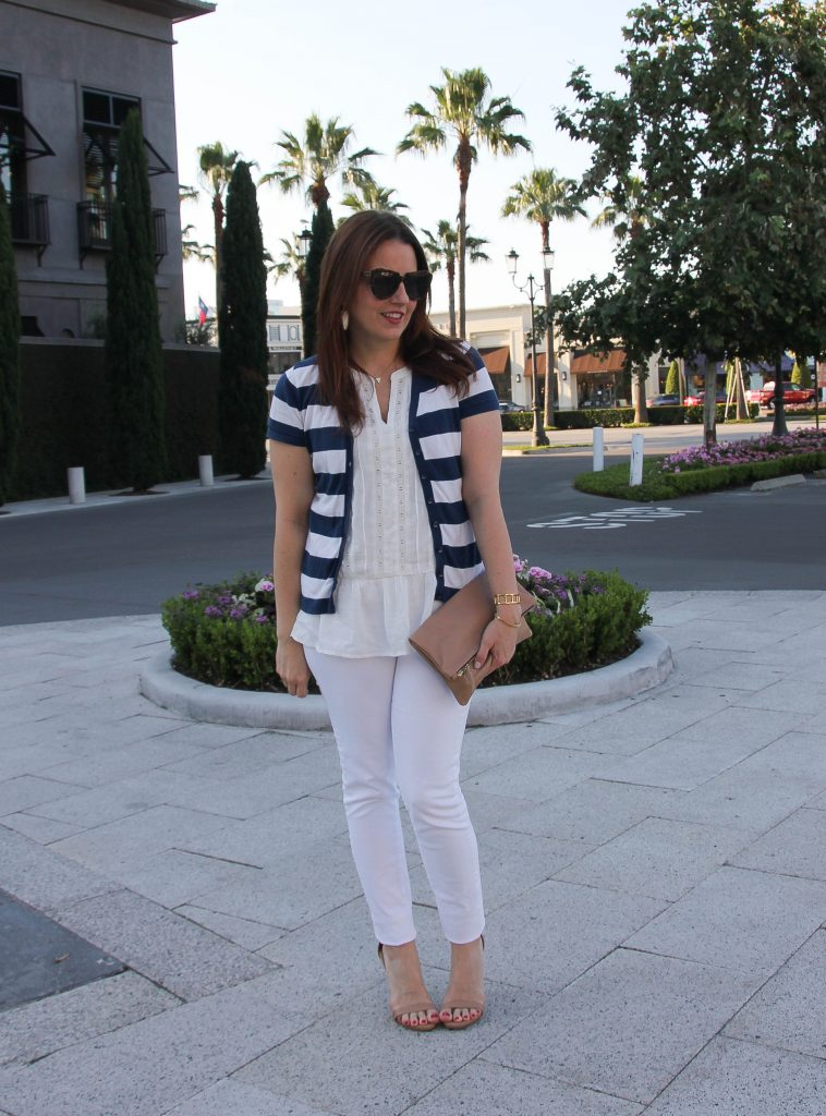 Spring Outfit | All White Outfit | Navy Striped Cardigan | Perfect Nude Heels | Lady in Violet